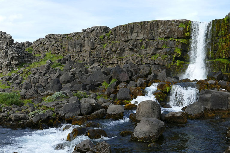 Iceland - Black Basalt Rock Waterfall