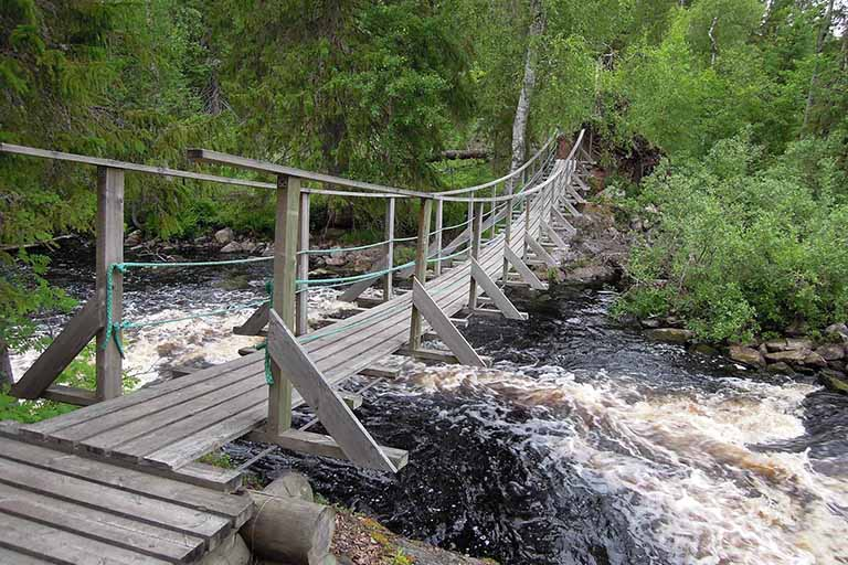 Finland Lapland - Oulanka National Park - Wooden Bridge